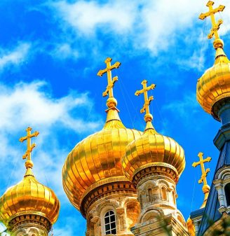 Touring-Mt-Olives-and-Old-City-Jerusalem-ViewpointChapel-of-the-Ascension- Church of Mary Magdalene Domes