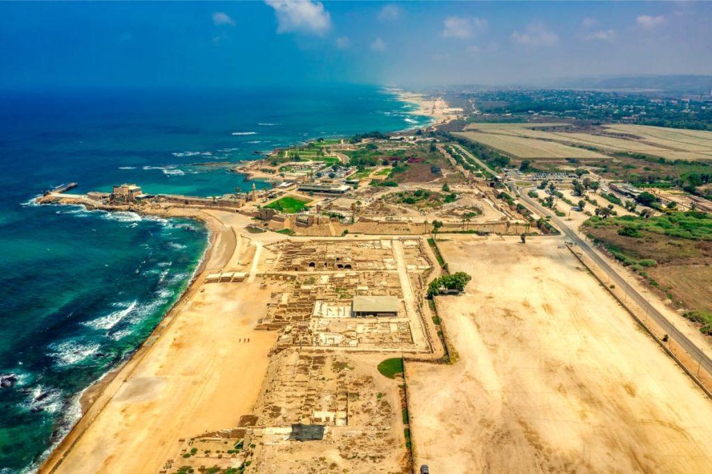 Caesarea's Roman Port Aerial